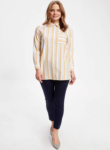 DeFacto Dikey Çizgili Tek Cepli Uzun Kollu Gömlek Tunik Sarı